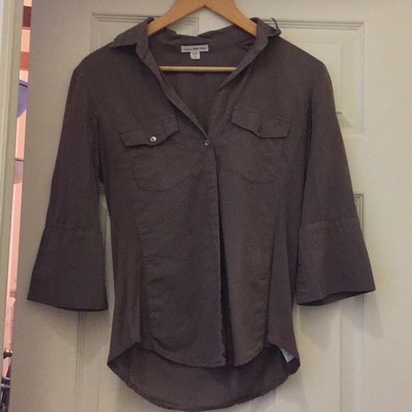 James Perse Tops - James Perse khaki/brown button down size 2